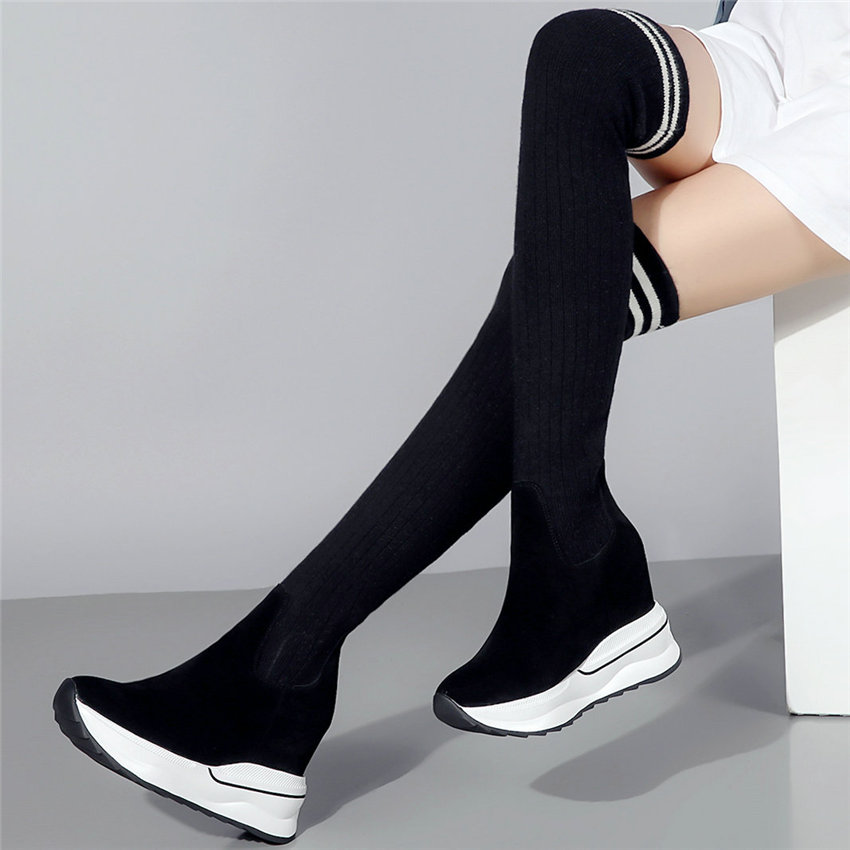 Women Black Genuine Leather Over The Knee Boots Knitting Stocking Thigh High Sneakers Wedges High Heel Long Platform Pumps Shoes in Over the Knee Boots from Shoes