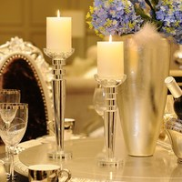 Large Crystal Luxury Candle Holder Nordic Romantic Simple Candlestick Living Room Bougeoir Cristal Wedding Dinner Decor MM60ZT