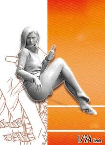 Image 1 - Unassambled 1/24 modern girl rest sit  Resin figure miniature model kits Unpainted
