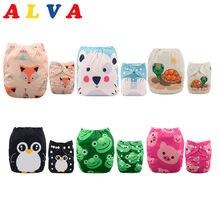 Alvababy fraldas de pano, 6 fraldas + 12 inserções fraldas de pano de bebê tamanho único lavável ajustável fralda de pano para meninas e bebês meninos