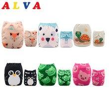ALVABABY 6 pañales + 12 insertos pañales de tela para bebés talla única pañal reutilizable ropa lavable ajustable para niñas y niños