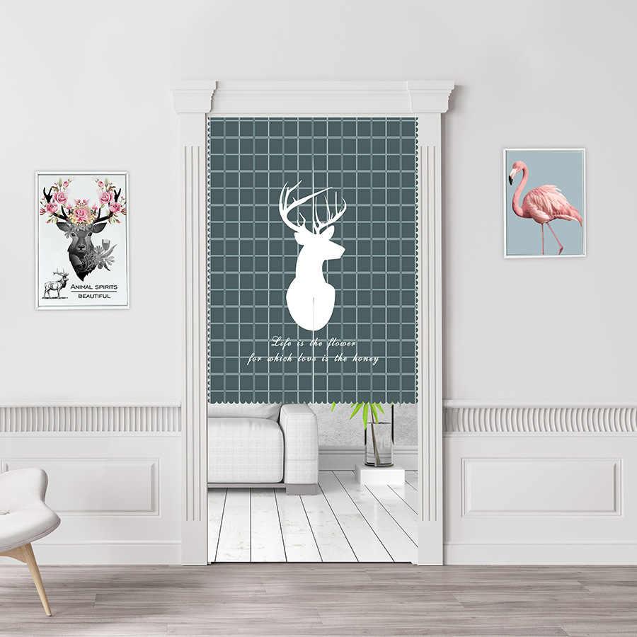 Nordic Elk ประตูผ้าม่านตกแต่งผ้าม่านประตู,ผ้าโพลีเอสเตอร์ Divider Tapestry สำหรับ Porch ห้องครัวห้องนอน Home Decor