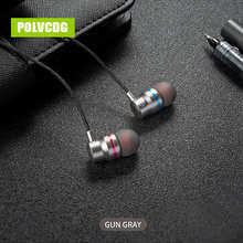 POLVCDG YH01 Gun Gray Music Mic 3.5mm HiFi Sports Earbuds With Wheat Line Control Sub Woofer Earphones