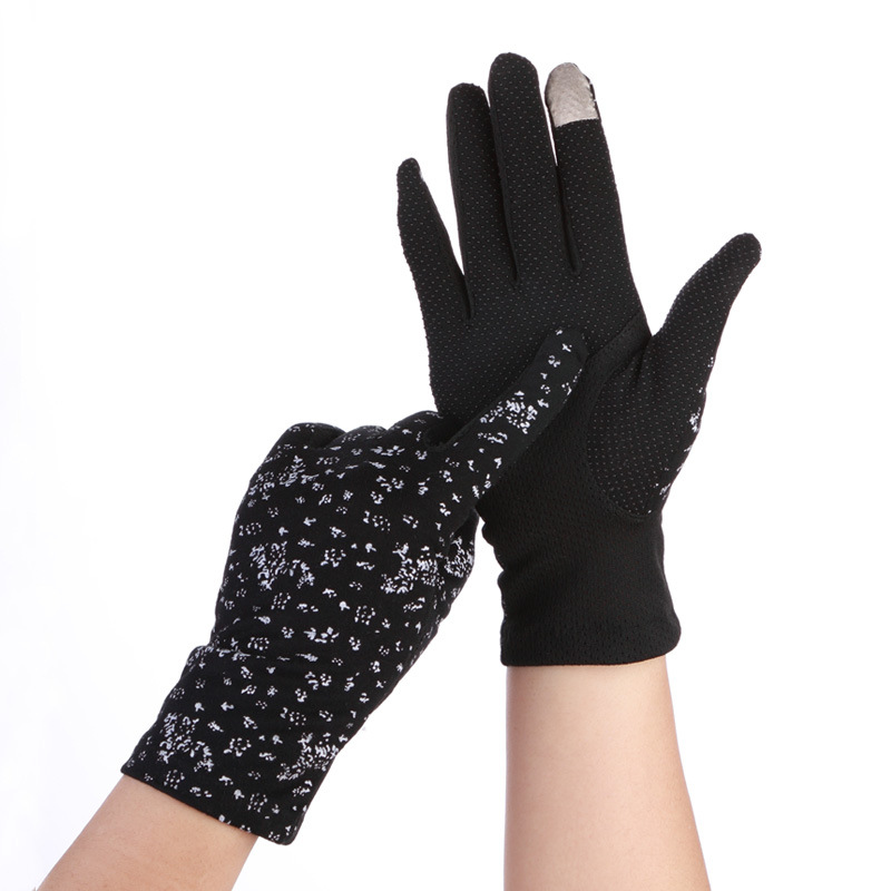 Elegant Ice Silk Sunscreen Driving Gloves Summer Women Thin Cotton Full Finger Anti-UV Touch Screen Gloves Bow Lace Gloves C51