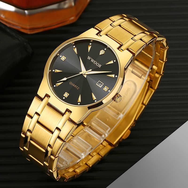 2020 WWOOR 다이아몬드 시계 남성 브랜드 럭셔리 골드 블랙 날짜 쿼츠 시계 남성 패션 드레스 손목 시계 relojes hombre