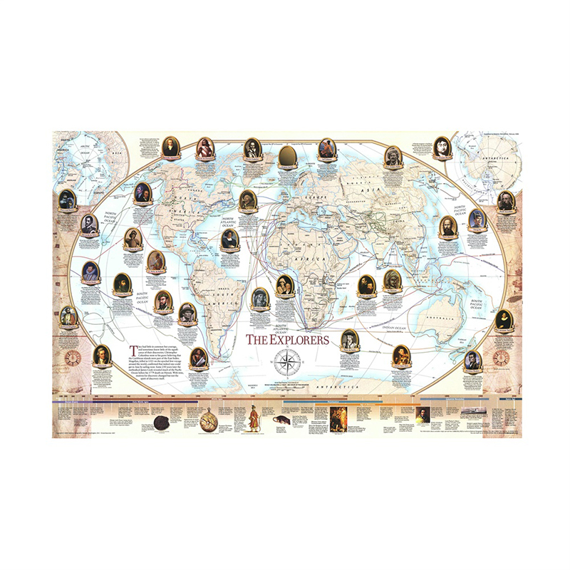 150x100cm Retro World Map World Famous Navigator And Explorer Navigation Map Non-woven World Map By National Geographic Society