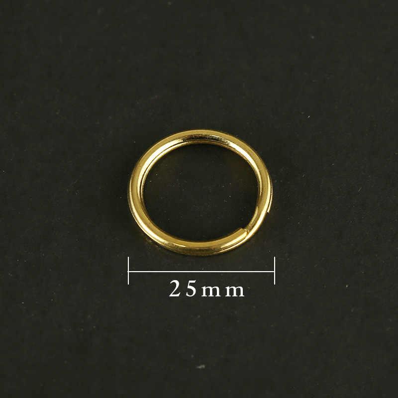 Reinem Messing Schlüssel Ring Handmade Metall Kupfer Doppel Schicht Runde Schlüsselbund Männer Frauen Auto Metall Schlüsselbund Kreis DIY Zubehör Schmuck