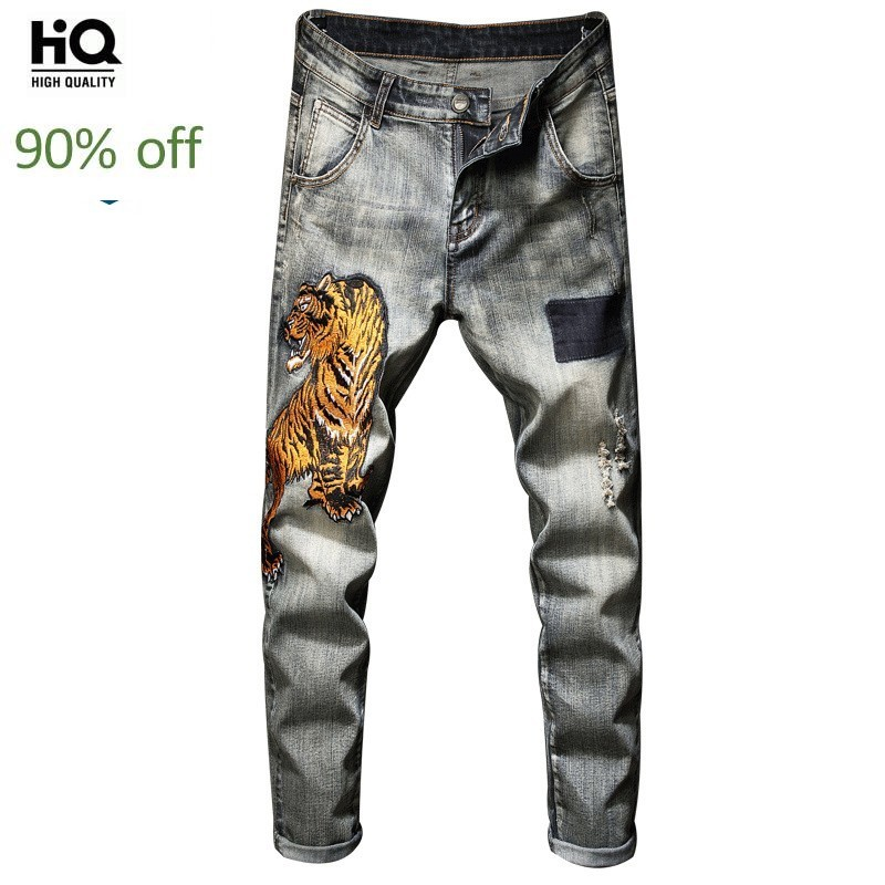 2020 New Hot Sale Mens Full Length Pants Fashion Tigerr Embroidery Printing Jeans Trousers Male Casual Elastic Pencil Pants