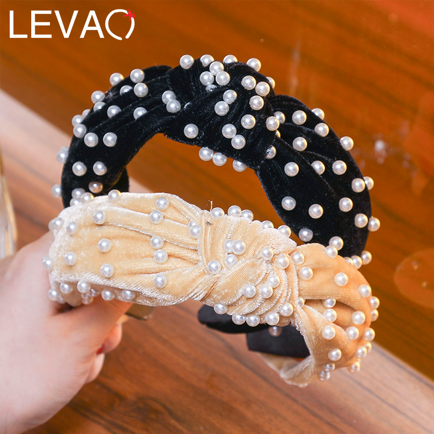Levao Yellow Pearl Knot Velvet Headband Crown, Large Ivory Turban Tie Knotted Headband, Races Headpiece, Gold Satin Headband