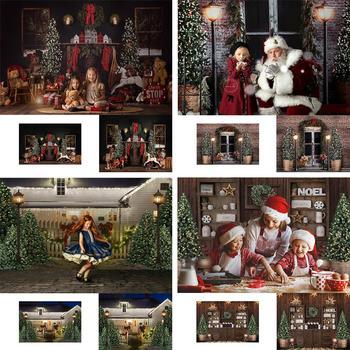 Mehofond Christmas Backdrop Tree Fireplace Snowflake Wood Window Photocall Photography Background for Photo Studio Decorations allenjoy photography background christmas tree gifts sofa wood floor backdrop photocall customize vinyl photographic