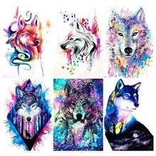 Wolf DIY 5D Diamond Painting Full Round/Square Drill Rhinestone Paintings Animal Embroidery Cross Stitch Mosaic Home Decor