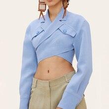 Women Crop Blazer Jacket Spring Autumn Crossover Short Suit