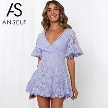 Anself נשים המפלגה תחרת שמלת צווארון V עטלף שרוול אונליין אימפריה שמלת מיני אישה סקסי קיץ שמלות