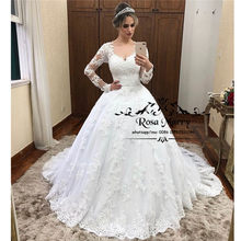 Princess Long Sleeves Ball Gown Wedding Dresses 2020 Vintage Lace Plus Size Sequined Muslim Vestido De Novia Bridal Gowns(China)