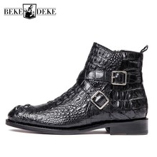 Luxury Brand Crocodile Leather Shoes Men Autumn Zip Flat Ank