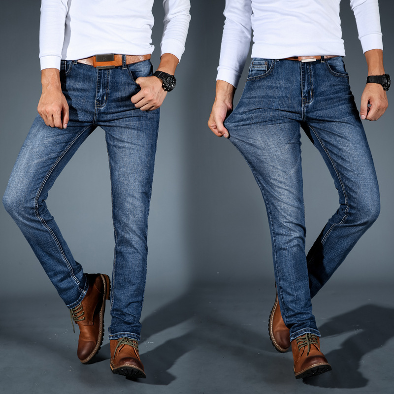 2019 Autumn Winter Jeans Men's Business Fashion Straight Loose Stretch Denim Classic Pants Men Jeans