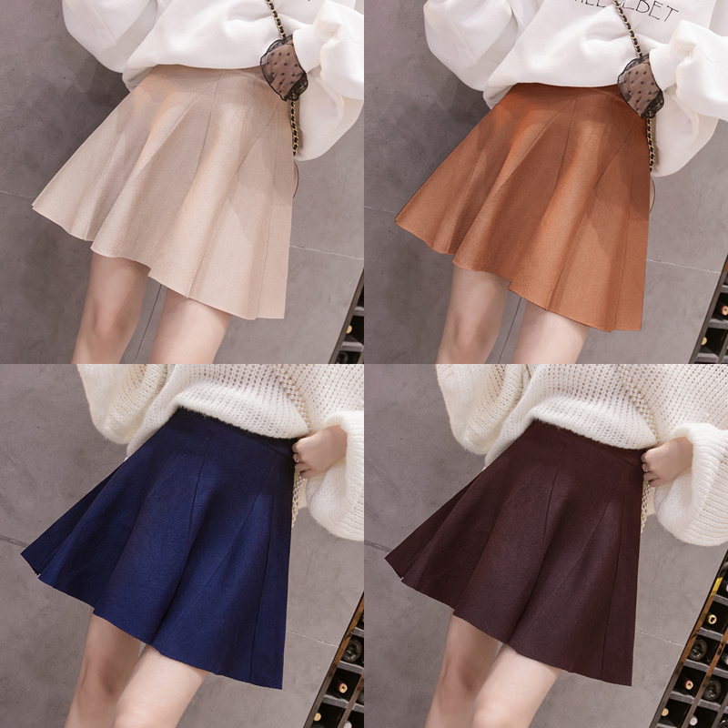 Women Knit Skirts 2019 Autumn New A Line Mini Skirt Elastic Hight Waist Umbrella Skirt Pleated Winter Skirts For Girl Studens