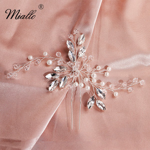 Miallo Fashion Austrian Crystal Pearls Wedding Hairpins Clips Bridal Hair Jewelry Accessories Handmade Headpieces for Women