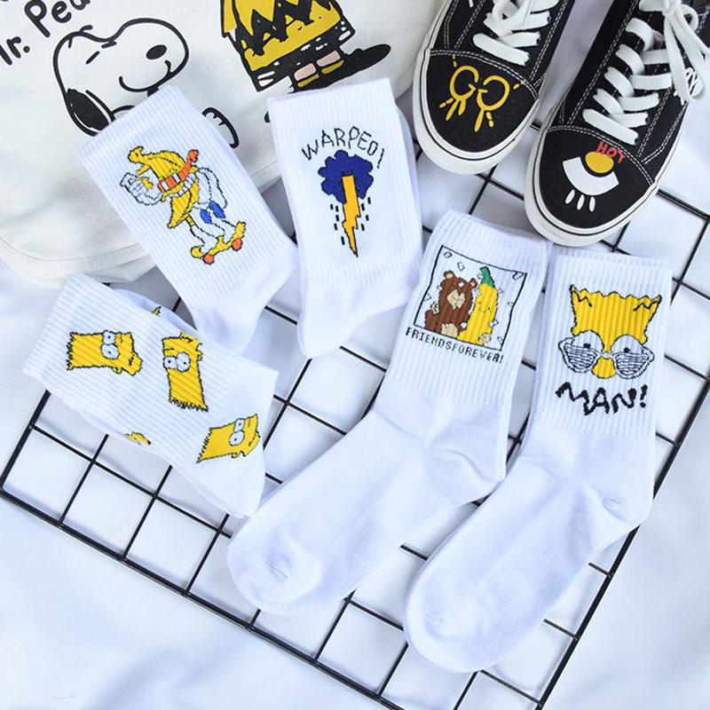 Unisex Couple Simpson Sesame Street Cartoon Pattern Ankle Socks Women Men Fun Simpsons Happy Woman Cotton Socks Streetwear Sock