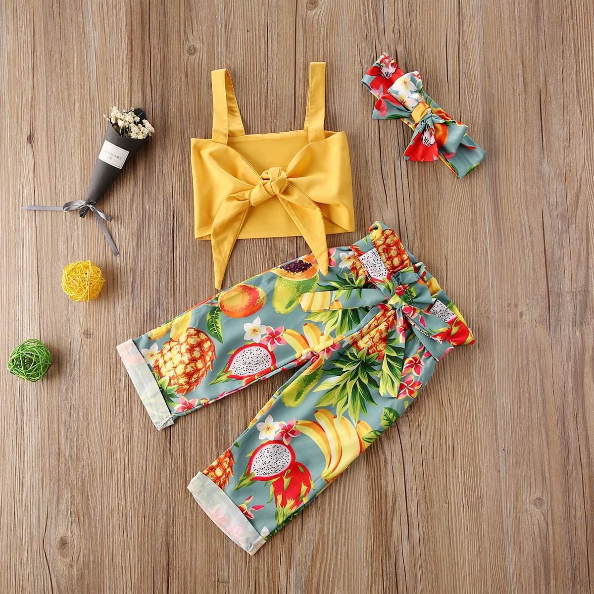Newborn Baby Girls Clothes Summer Casual Headband Off Shoudler Bow Strap Vest Fruits Print Trousers 3pc Cotton Set