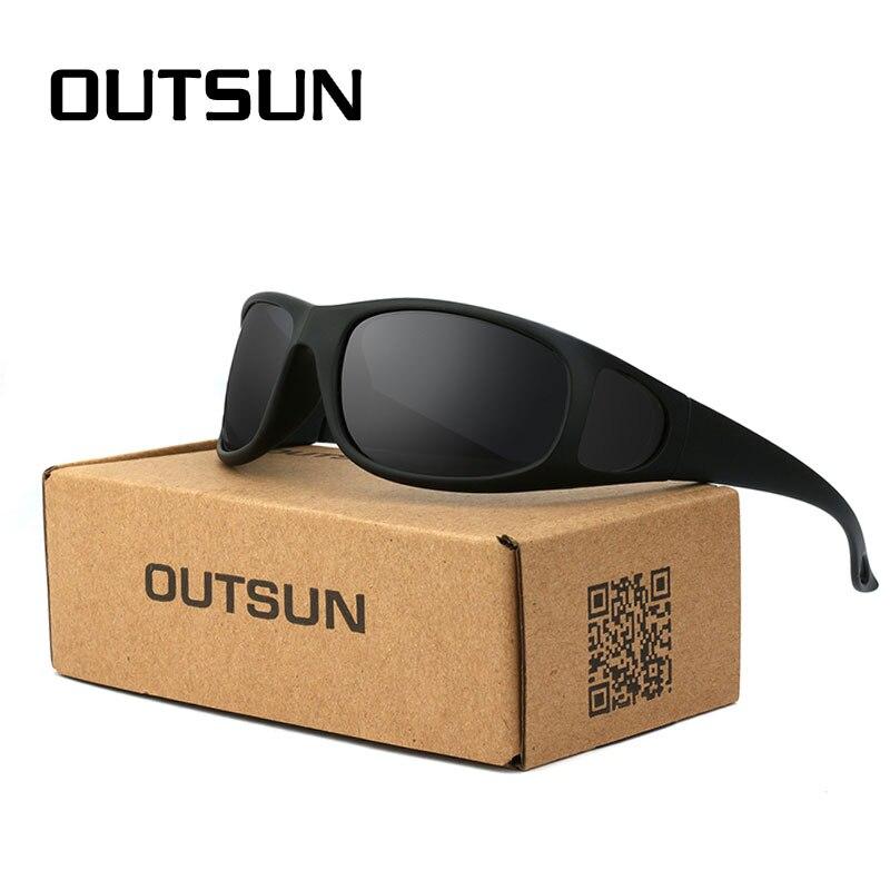 Outsun mais caso moda óculos de sol dos homens polarizados uv 400 lente marca designer óculos de peixe condução feminino óculos sol 212