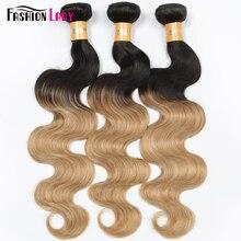 FASHION LADY wstępnie kolorowe brazylijski proste włosy ludzkie włosy wyplata 1B/27 pasma ludzkich włosów z farbowaniem ombre 1/3/4 pakiet na opakowanie nie Remy