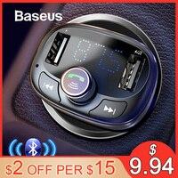 Baseus fm-передатчик модулятор Bluetooth Handsfree автомобильный комплект аудио mp3-плеер с 3.4A двойной USB автомобильный fm-передатчик зарядное устройство ...