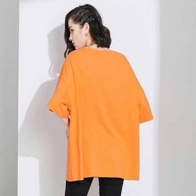 Style coréen orange dames t-shirt été col rond surdimensionné dames orange t-shirt t-shirt kawaii vêtements rue dames longues
