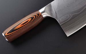 Image 4 - سكين مطبخ من الفولاذ المقاوم للصدأ 7CR17 سكاكين طاه ساطور لحم دمشق رسم