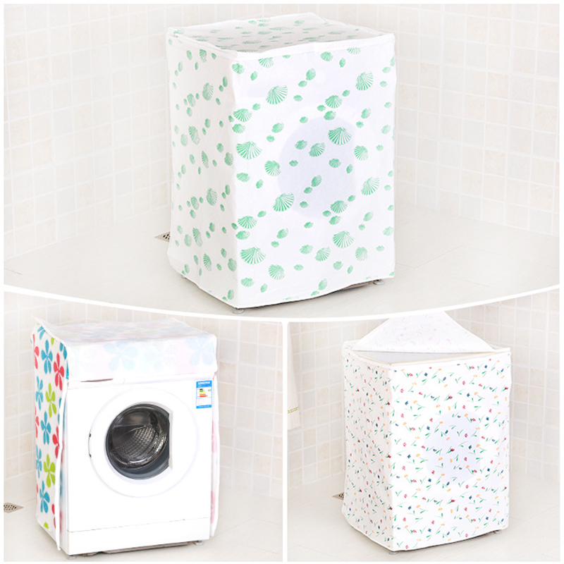PEVA Floral Washing Machine Dust Cover Simple Waterproof Durable Non-Pollution Washing Machine Cover Household Decoration Tool