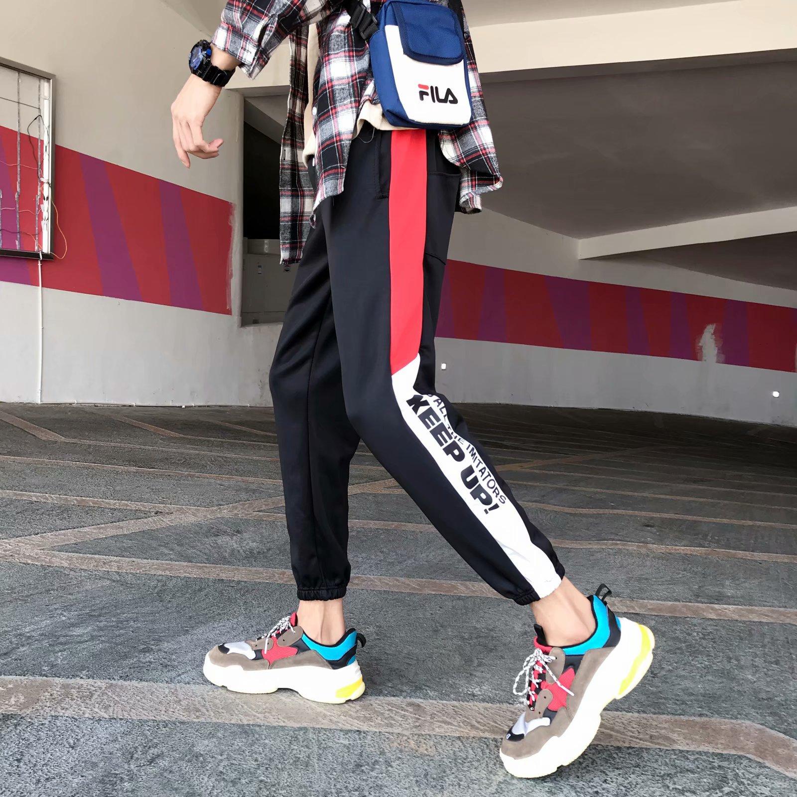 Summer Trousers Men's Thin Students Capri Pants Slim Fit Large Size Japanese-style Mixed Colors Beam Leg Athletic Pants Korean-s
