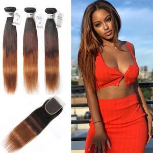 SPARK Hair Bundles Closure Ombre Brazilian Straight with Weave Ratio Medium