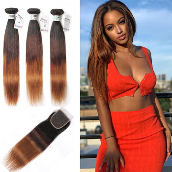 SPARK Ombre Hair Straight Bundles With Closure Brazilian Human Hair Weave Bundles Ombre Remy Closure With Bundles Medium Ratio ombre brazilian hair straight 7a brazilian human hair weave bundles omber 3pcs lot 1b rose gold weave ombre hair bundles