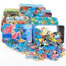 200 peças de madeira quebra-cabeça caixa de ferro criança dos desenhos animados animais quebra-cabeças de madeira brinquedo do miúdo brinquedos educativos para o presente de natal