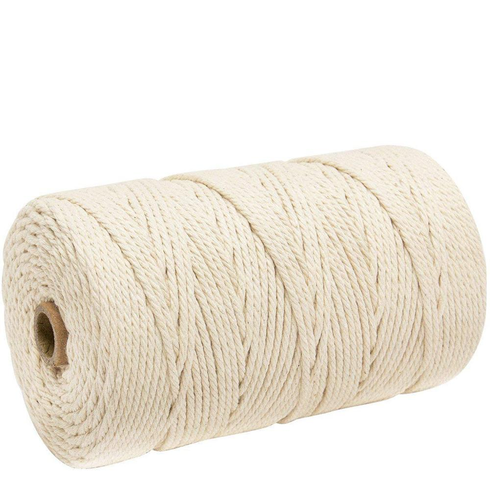 Durable 200m White Cotton Cord Natural Twisted Cord Rope Craft Macrame String