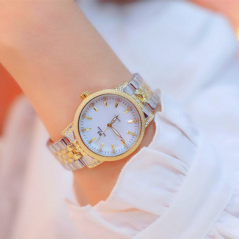 New Style Luxury Brand Lady Crystal Watch Women Dress Watch Fashion Rose Gold Quartz Watches Female Stainless Steel Wristwatches
