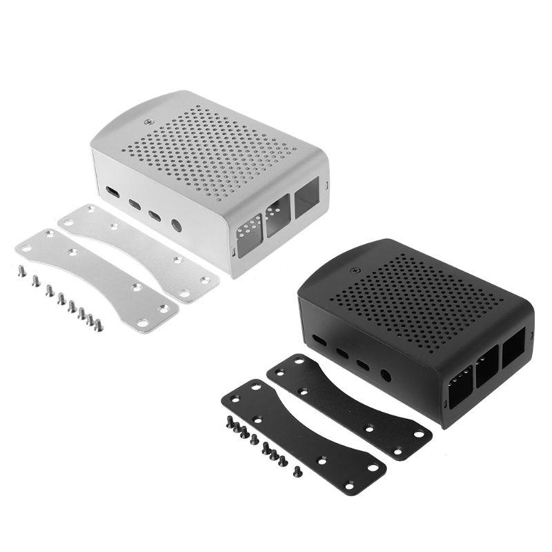 1Set Silver/Black Aluminum Case Metal Enclosure For Raspberry Pi 4 Model B+ Kit E65A