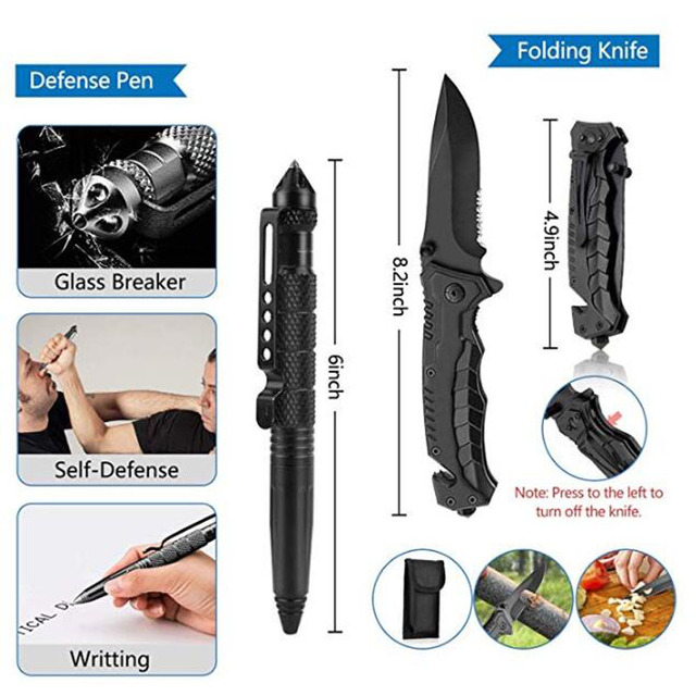 HuntingE mergency Survival Kit Fishing SOS,EDC Survival Gear Outdoor Camping Hiking Kit with knife flashlight Emergency blanket 3