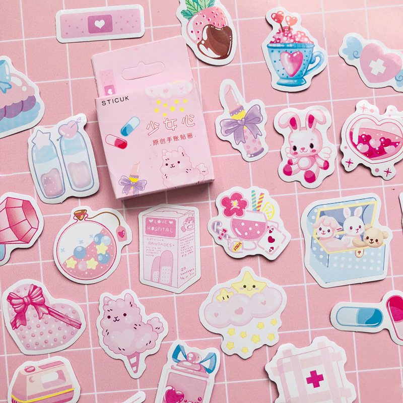 46 pcs /Box Pink Princess Girls Favourite Life Decorative Paper Stickers Decoration