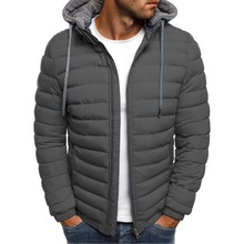 Lightweight Warm Winter Parkas Mens Striped Solid Zipper Pocket Trench