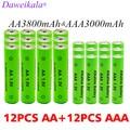 Аккумулятор AA + AAA 1,5 В, щелочной аккумулятор 3000-3800 мАч для фонарь, игрушки, часы, mp3-плеер, сменный Ni-MH аккумулятор
