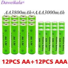Bateria aa + aaa 1.5v recarregável, bateria alcalina 3000-3800 mah para brinquedos, relógio, mp3 player, substituição bateria ni-mh
