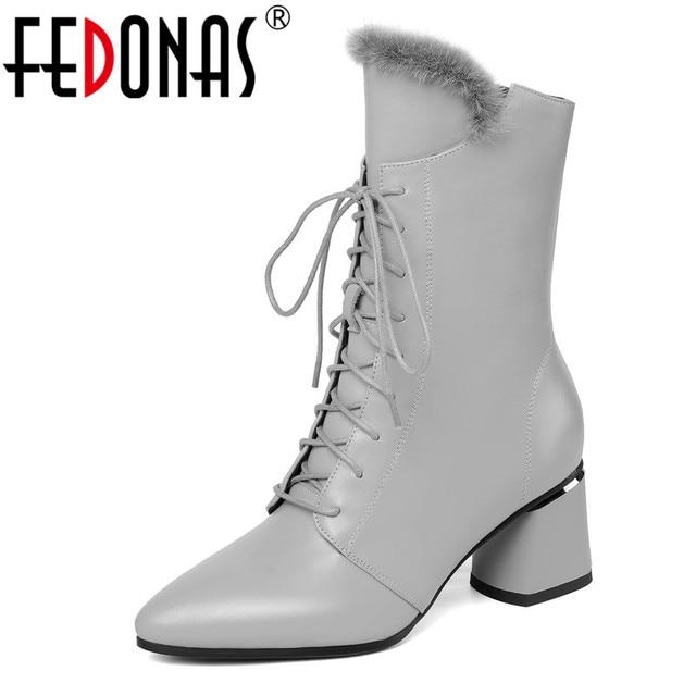FEDONAS أنيقة النساء الشتاء حفلة موسيقية منتصف العجل الأحذية الدافئة جلد طبيعي عالية الكعب تشيلسي الأحذية عبر تعادل أحذية رقص امرأة