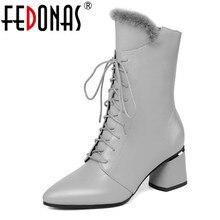 Fedonas mulheres elegantes do inverno do baile de formatura meados de bezerro botas quentes de couro genuíno botas de salto alto chelsea cross amarrado sapatos de dança mulher