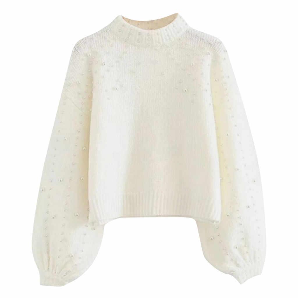 Frau Stricken Pullover Neue Sexy Langarm Perle Dicken Rollkragen Solide O-ansatz Pullover Herbst Winter Mode Casual Bluse # A