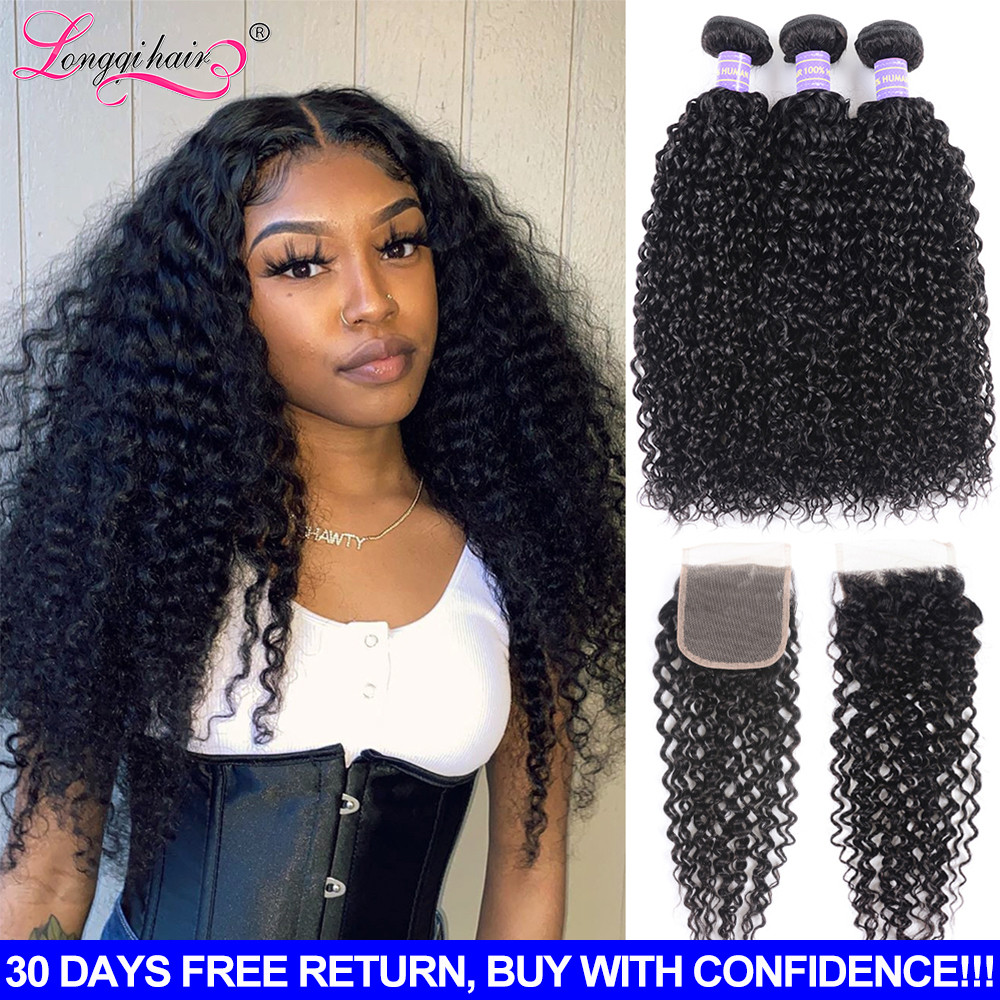 Longqi Curly Bundles with Closure Remy Human Hair Brazilian Hair Weave 3 Bundles with Closure 4X4 Lace Closure with Bundles
