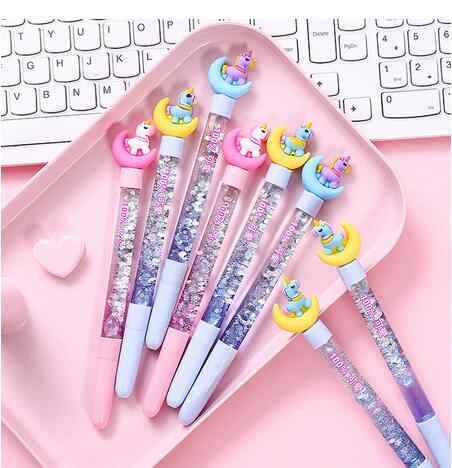 Cartoon einhorn mond gel stift schwarz tinte writting stifte canetas material escolar kawaii staitonery paperlaria schule supplie