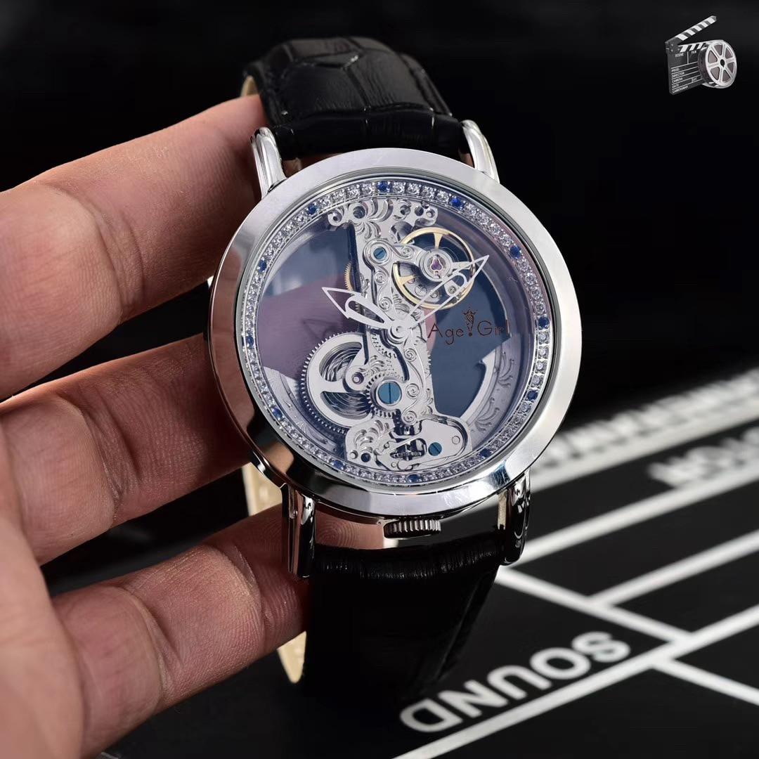 Saatler'ten Mekanik Saatler'de Lüks marka yeni erkekler otomatik mekanik saatler gümüş altın elmas su geçirmez şeffaf cam İskelet siyah deri AAA + title=