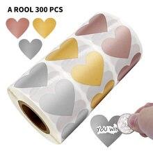 50-300 pces 3 cores riscar fora adesivos forma do coração etiquetas etiqueta diy feito à mão para o jogo etiqueta do risco etiquetas stationer