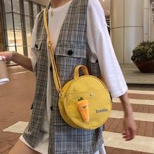 Harajuku style canvas small round bag female Messenger bag creative carrot decoration student shoulder bag blood kitchen knife style canvas zipper messenger bag white red